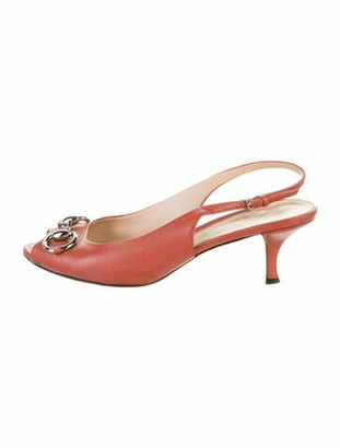 Gucci 1955 Horsebit Accent Leather Slingback Pumps Pink