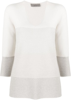 D-Exterior Long-Sleeve Block Colour Knitted Top