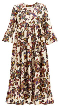 La DoubleJ Jennifer Jane Bird-print Silk-twill Midi Dress - Ivory Multi