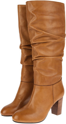Monsoon Slouch Leather Long Boots Tan