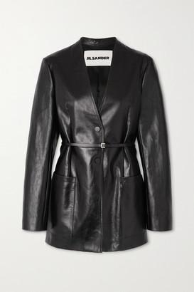 Jil Sander Nessa Belted Leather Blazer - Black