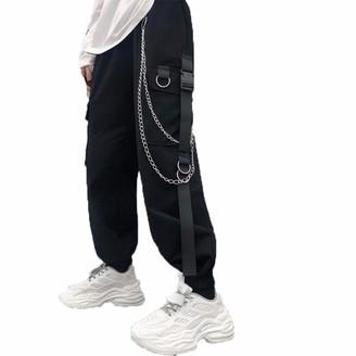 Generic Brands Women's Overalls Loose Wild Hip-Hop Pants Street Wear Harajuku Style Webbing Decorative Pocket Casual Pants Black