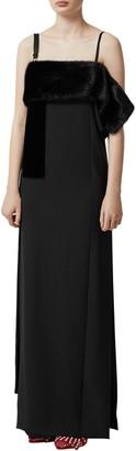 Burberry Faux Fur Detail Silk Gown