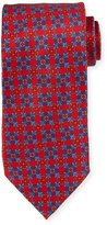 Neiman Marcus Italian-Made Geometric Silk Printed Tie, Red