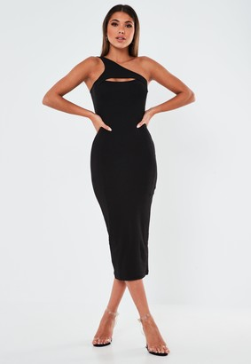 Missguided Black Cut Out One Shoulder Ribbed Midaxi Dress