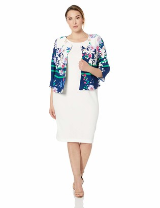 Maya Brooke Women's Abstract Floral Jacket with Dress