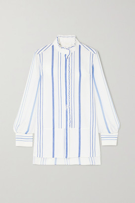 Chloé Embroidered Striped Cotton-twill And Georgette Shirt - White