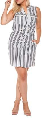 Dex Striped Blouson Shirt-Dress