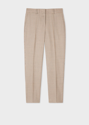 Paul Smith Women's Slim-Fit Camel Houndstooth Check Wool Trousers
