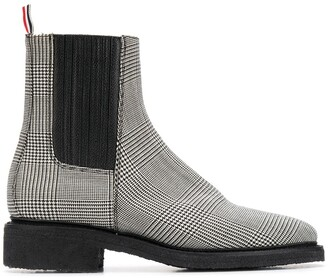 Thom Browne Chelsea boots with covered elastic & crepe sole in engineered 4 bar pow heavy wool