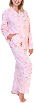 Angelina Women's Sleep Bottoms White - Pink & White Sheep Flannel Pajama Set - Women