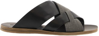 Brunello Cucinelli Low Sandals Precious Crossover Sandals In Embossed Calfskin And Monili