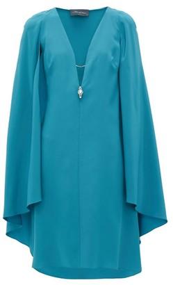 Julie De Libran - Bluebird Cape-sleeve Silk-crepe Dress - Womens - Blue