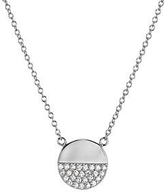 Aqua Sterling Silver Pave Circle Pendant Necklace, 16 - 100% Exclusive