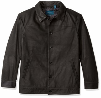 Perry Ellis Mens Big Dobby Tech Jacket with Faux Leather Trim