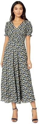 Tahari ASL Short Puff Sleeve Printed Midi Dress with Cinching Detail (Navy/Yellow) Women's Dress