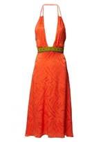 Matthew Williamson Tangerine Silk Jacquard Halter Dress