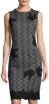 Taylor Jacquard Sheath Dress with Floral Applique, Gray/Black
