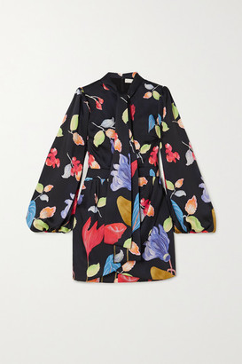 Peter Pilotto Pussy-bow Floral-print Twill Mini Dress - Black