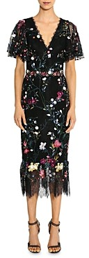Marchesa Embroidered Floral Flutter-Sleeve Sheath Dress