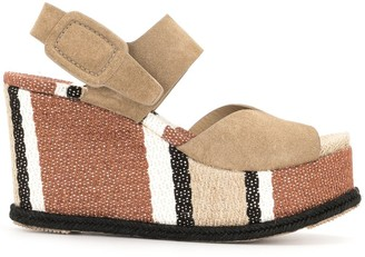 Pedro Garcia Stripe-Detail Raffia-Sole Sandals