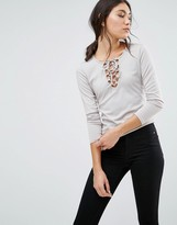 Daisy Street Rib Top With Lace Up Front