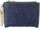 Neiman Marcus Woven Faux-Leather Reptile Keychain Pouch, Cobalt
