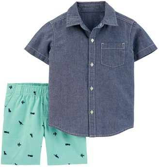 Carter's Baby Boy 2 Piece Chambray Button-Front Shirt & Canvas Shorts