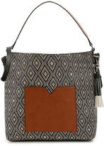 Kelly & Katie Women's Campwood Hobo Bag -Black/Tan Woven Raffia