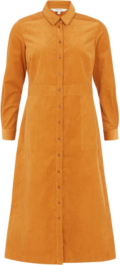 People Tree Mustard Aina Corduroy Shirt Dress - M