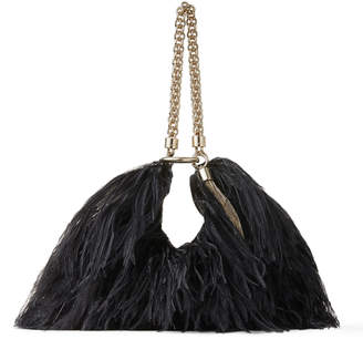 Jimmy Choo CALLIE Black Leather Clutch Bag with Ostrich Feather