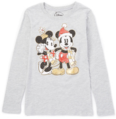 Jerry Leigh Heather Gray Holiday Mickie & Minnie Crewneck Tee - Girls