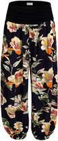 KorMei Womens Boho Floral Print Elastic Waist Harem Pants