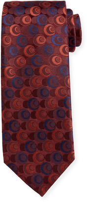 Canali Men's Silk Deco Circles Tie, Red