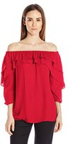 NY Collection Women's Solid 3/4 Sleeve Off the Shoulder Top with Ruffles At Neckline and Sleeves