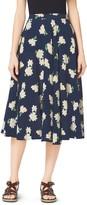 Michael Kors Camellia-Print Silk-Georgette Circle Skirt