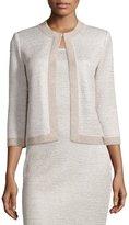 St. John Allure Knit Jewel-Neck 3/4-Sleeve Jacket, Champagne