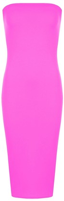 janisramone Womens Ladies New Plain Boob Tube Stretch Bandeau Strapless Summer Pencil Bodycon Midi Dress Cerise