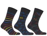 John Lewis Bike Pattern Socks, Pack Of 3, Navy/multi