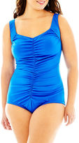 JCPenney AZUL BY MAXINE OF HOLLYWOOD Azul By Maxine of Hollywood Shirred-Front One-Piece Spa Swimsuit - Plus