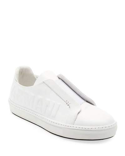 Giorgio Armani Men's Logo-Embossed Slip-On Low-Top Sneakers, White