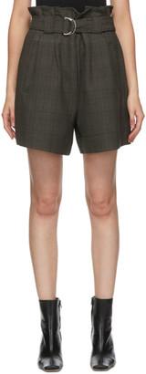Ganni Khaki Paper Bag Belted Shorts