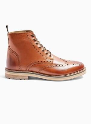 TopmanTopman Tan Real Leather Orbis Brogue Boots
