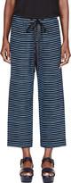 Marc Jacobs Blue Silk Pinstripe Pillar Leg Trousers