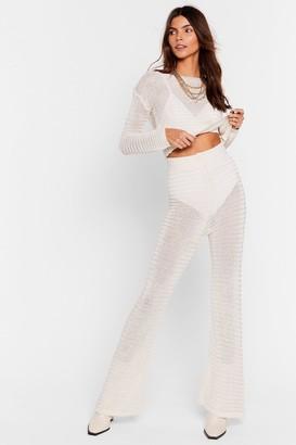 Nasty Gal Womens Hole Lotta Trouble Crochet Wide-Leg Pants Set - Ecru