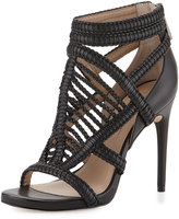 BCBGMAXAZRIA Dori Braided Leather Sandal, Black