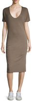 James Perse Cotton Scoopneck Ruched Dress
