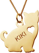 JCPenney FINE JEWELRY Personalized Sitting Cat 14K Yellow Gold Over Sterling Silver Pendant Necklace