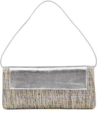 Nancy Gonzalez Gotham Metallic Lizard/Raffia Flap Clutch Bag