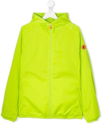 Save The Duck Kids Zip Up Logo Patch Jacket